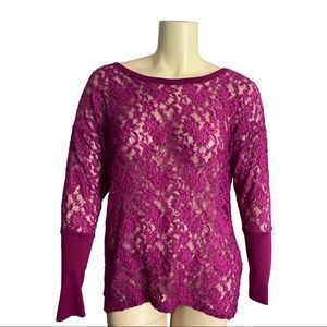 Addition Elle Magenta Stretch Lace Sheer Top 1X